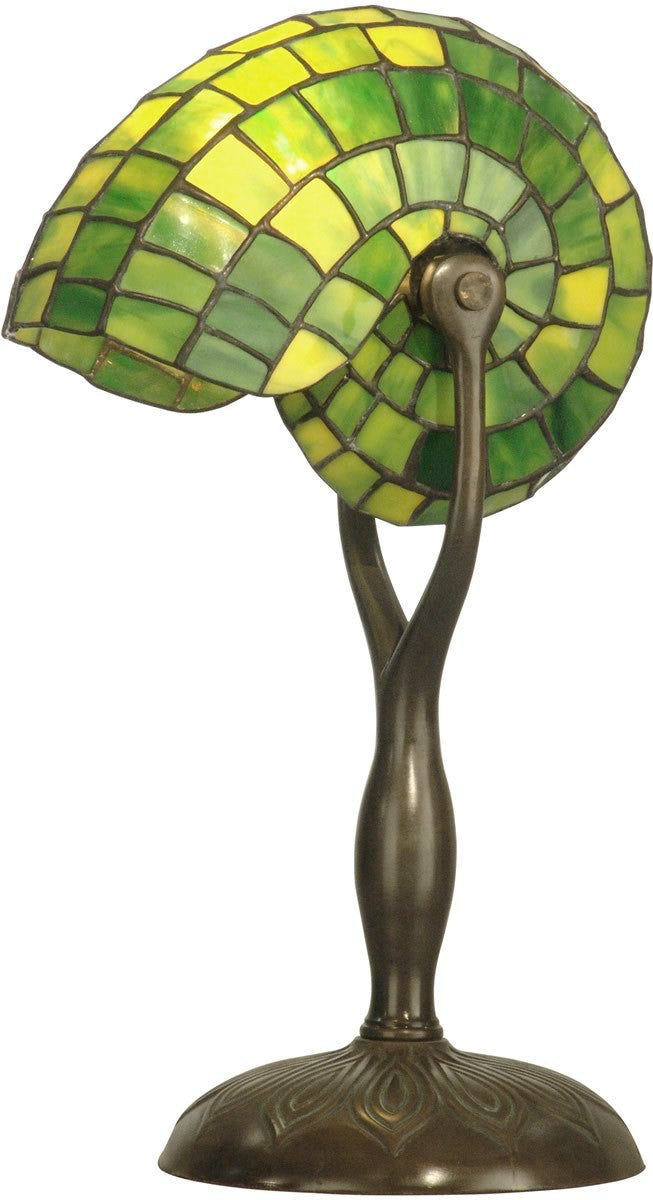 "18""h 1-Light Tiffany Table Lamp Antique Verde Nautilus Shell"