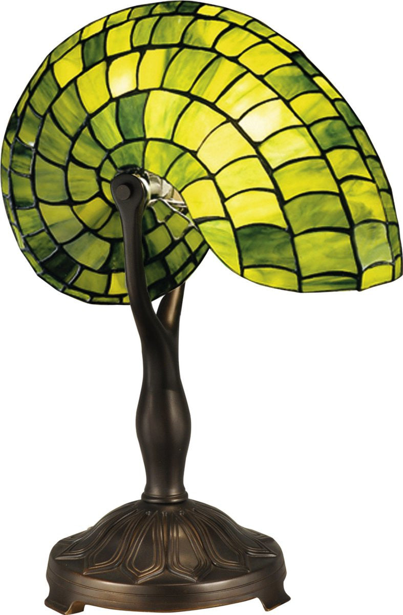 Green Nautilus 1-Light Table Lamp Antique Bronze