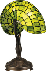 Dale Tiffany Green Nautilus 1-Light Table Lamp Antique Bronze  TT13116