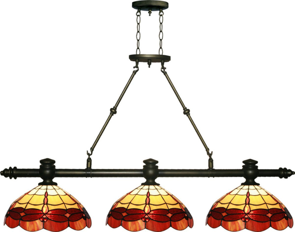 "50""W Groveland 3-Light Island Light Antique Brass"