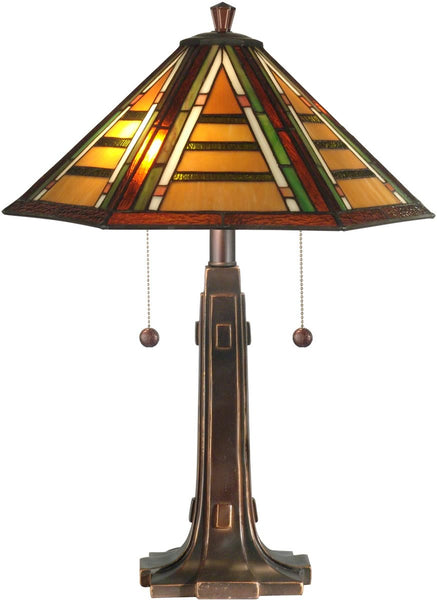 "22""h 2-Light Tiffany Table Lamp Antique Golden Sand"