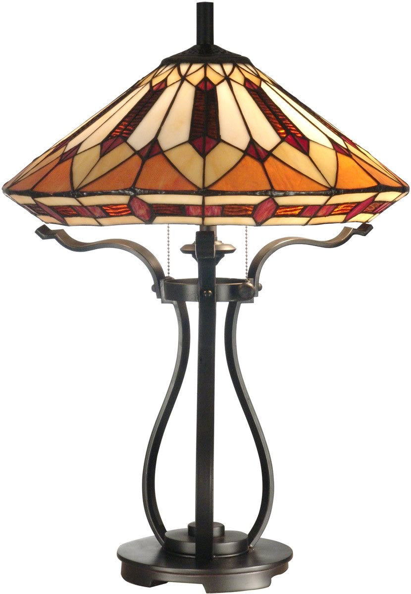 "25""h 2-Light Tiffany Table Lamp Black"