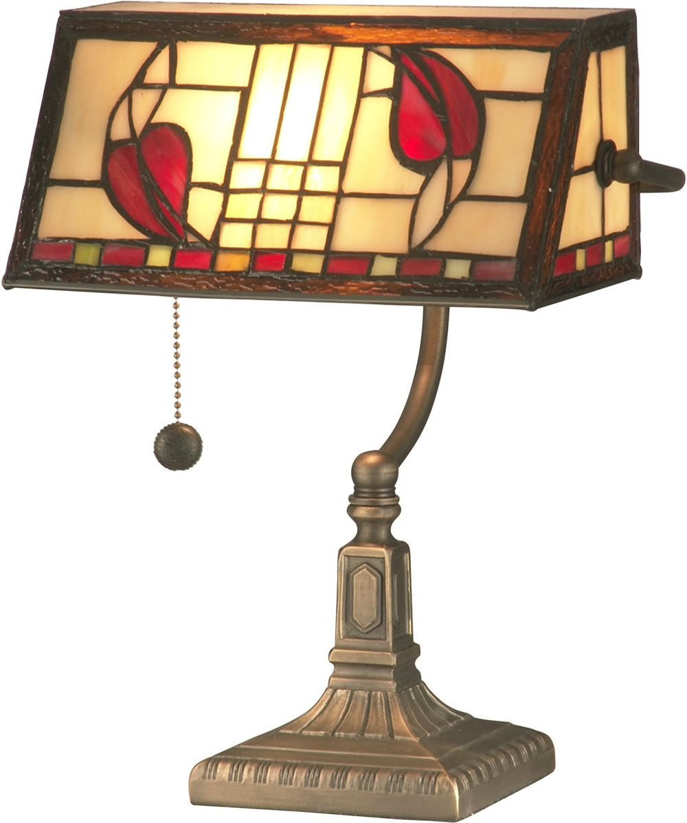 "14""h 1-Light Tiffany Accent Lamp Antique Brass"