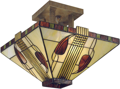 Dale Tiffany Henderson Tiffany Glass Semi-Flush Mount Antique Bronze 27262LTF