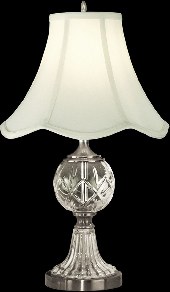 "23""H 1-Light 3-Way Glass/Crystal Table Lamp Pewter"