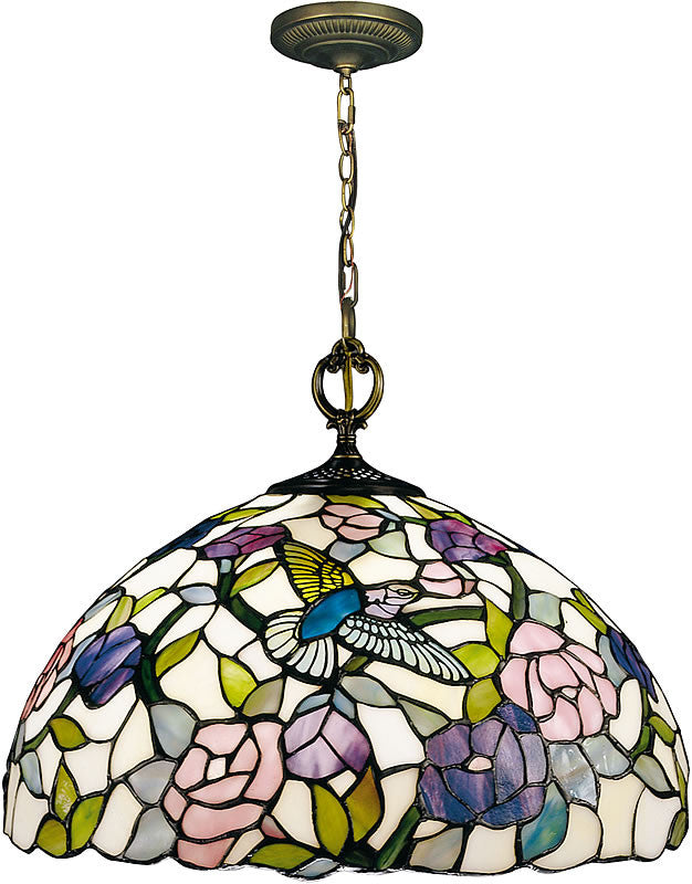 "16""W Hummingbird Tiffany Hanging Fixture Antique Brass Plating"