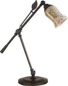 Dale Tiffany Hunters Creek Art Glass Desk Lamp Antique Bronze TT14280
