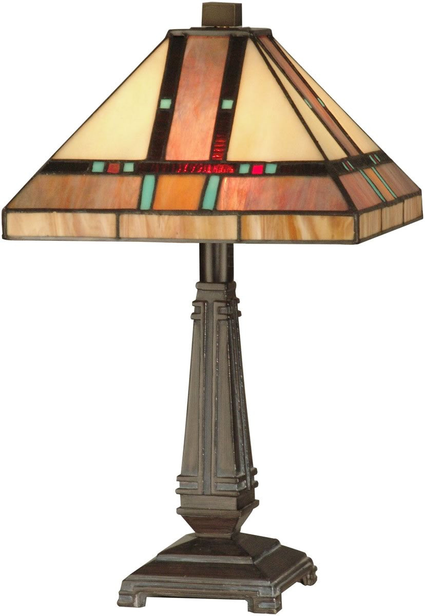 "17""h 2-Light Tiffany Table Lamp Mica Bronze"