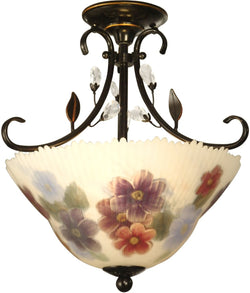 "15""w 2-Light Art Glass Flush Mount Antique Golden Sand"