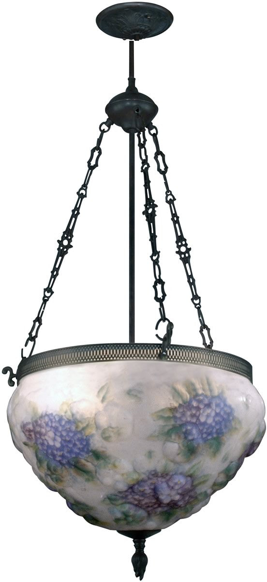 "18""w 3-Light Art Glass Hanging Fixture Antique Bronze"
