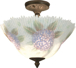 Hydrangeas Glass Flush Mount Antique Bronze