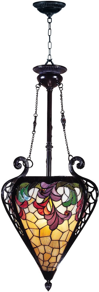"17""w 3-Light Tiffany Hanging Fixture Mica Bronze"