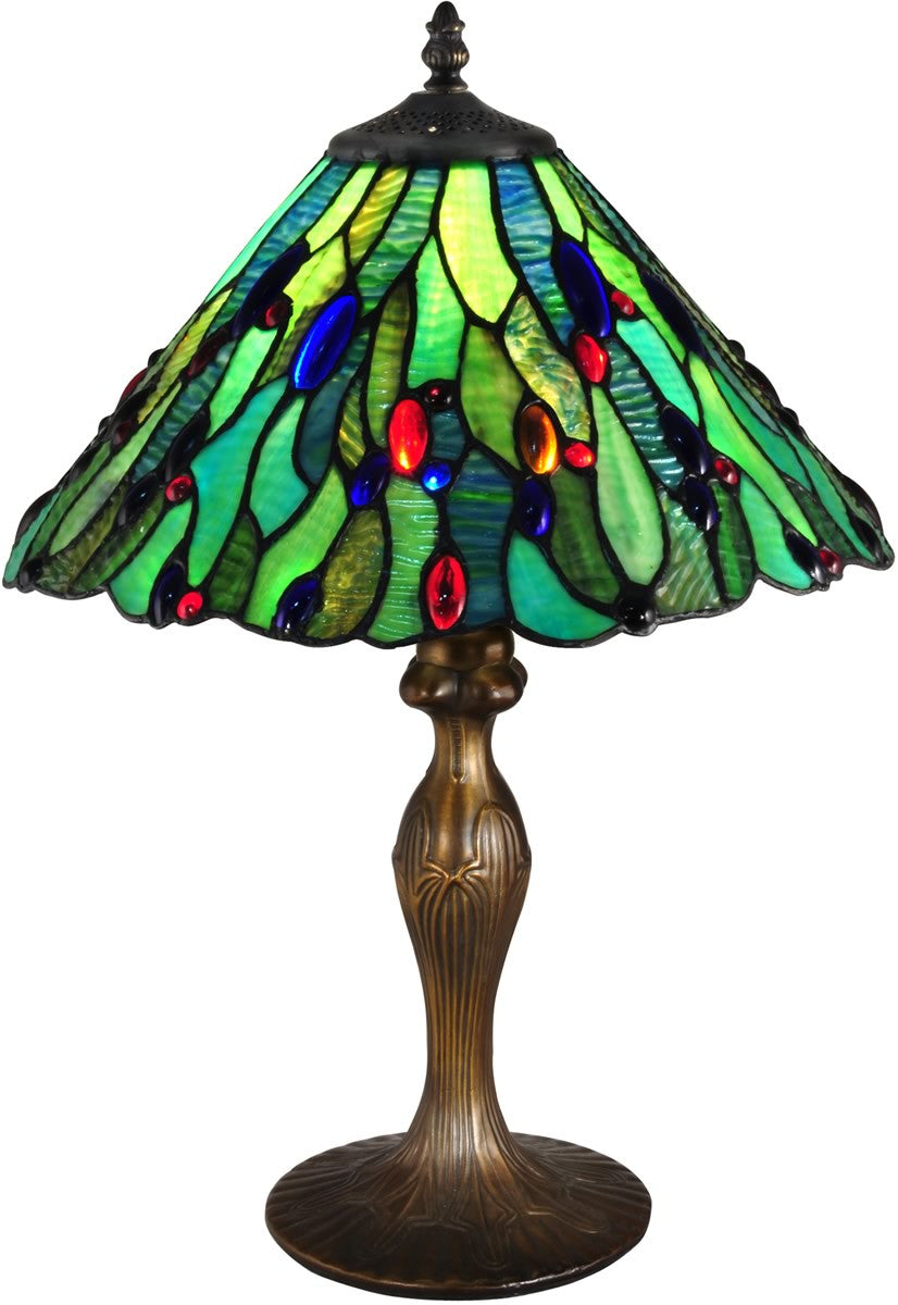 "20""H Jeweled Leaf Tiffany Table Lamp Antique Bronze"