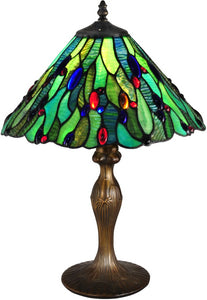 Dale Tiffany Jeweled Leaf Tiffany Table Lamp Antique Bronze TT15095