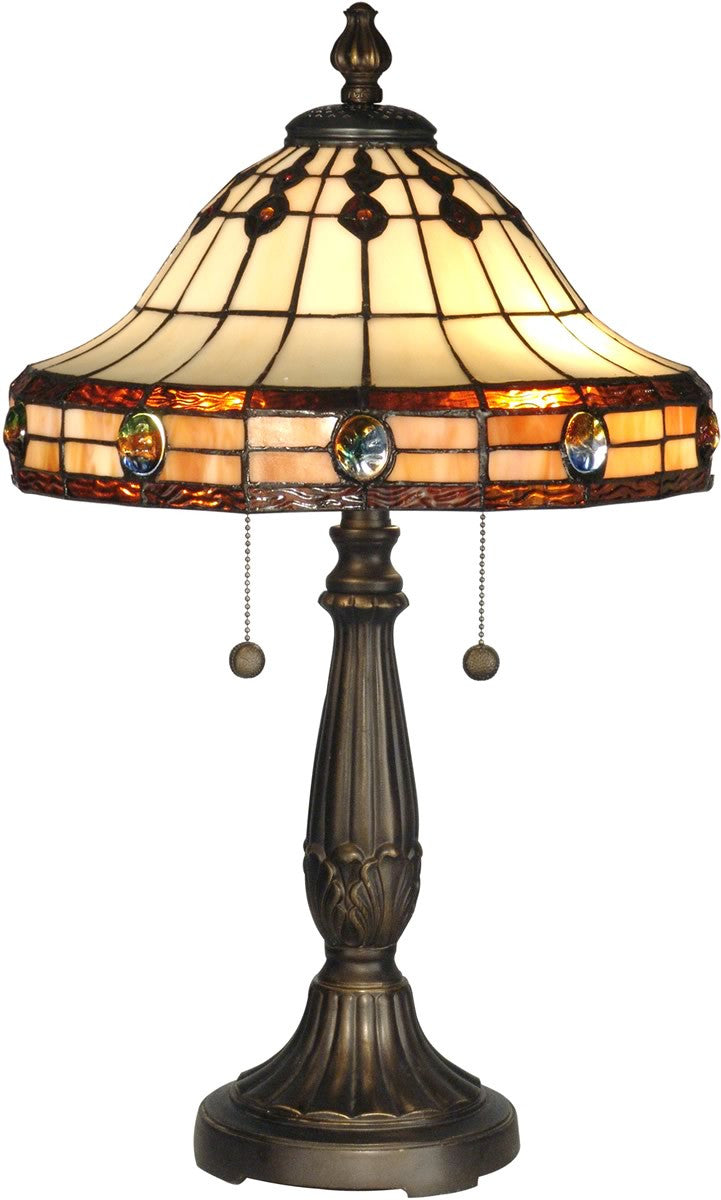 "23""h 2-Light Tiffany Table Lamp Antique Golden Sand"