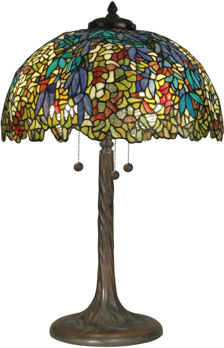 "29""h 3-Light Tiffany Table Lamp Antique Verde"