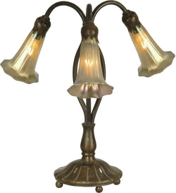 Dale Tiffany Lily Art Glass Accent Lamp Antique Bronze TA15130