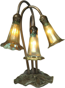 Dale Tiffany Lily Art Glass Accent Lamp Antique Bronze TA15131