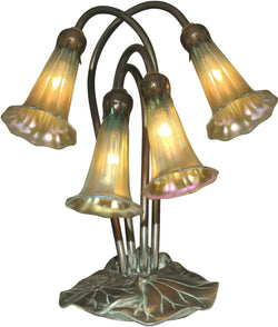 Lily Art Glass Accent Lamp Antique Bronze