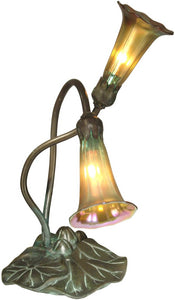 Dale Tiffany Lily Art Glass Accent Lamp Antique Bronze TA15134