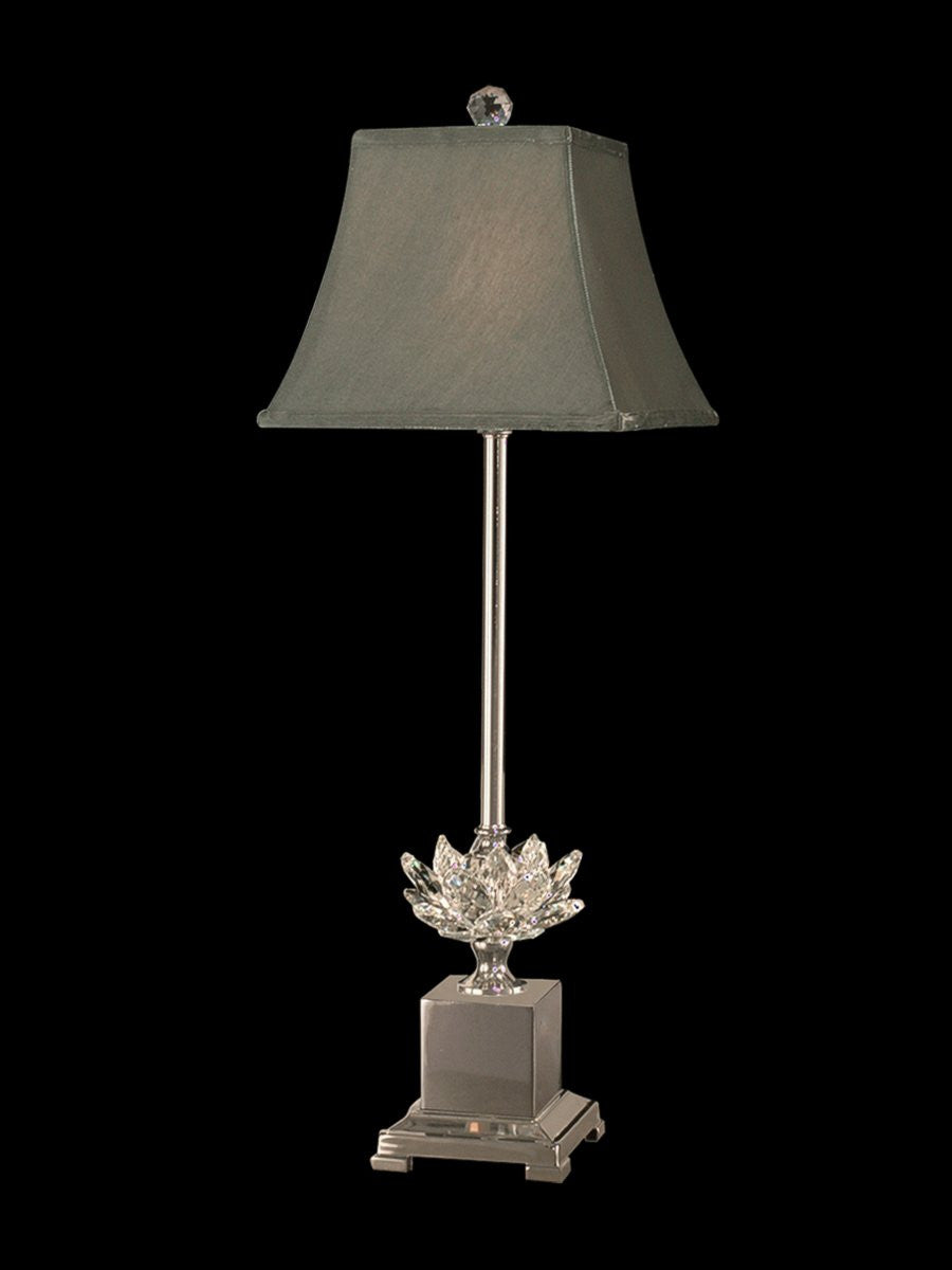 "29""H Lucinda 1-Light Crystal Buffet Lamp Polished Nickel"