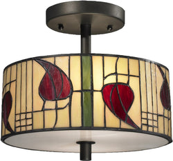 Dale Tiffany Macintosh 2-Light Semi Flush Fixture Dark Bronze TH12322