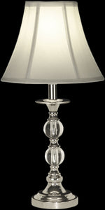 "19""h 1-Light Glass Table Lamp Polished Chrome"