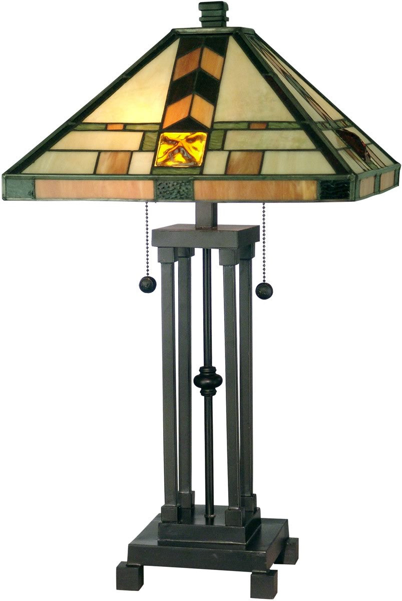 "25""H 2-Light Tiffany Table Lamp Dark Antique Bronze"