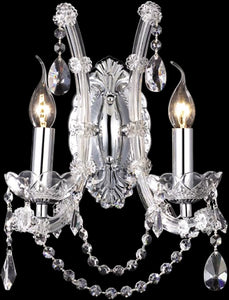 "11""w 2-Light Crystal Wall Sconce Polished Chrome"