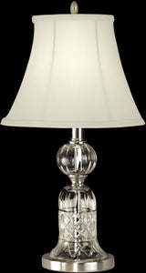"23""h 1-Light 3-Way Glass Table Lamp Satin Nickel"