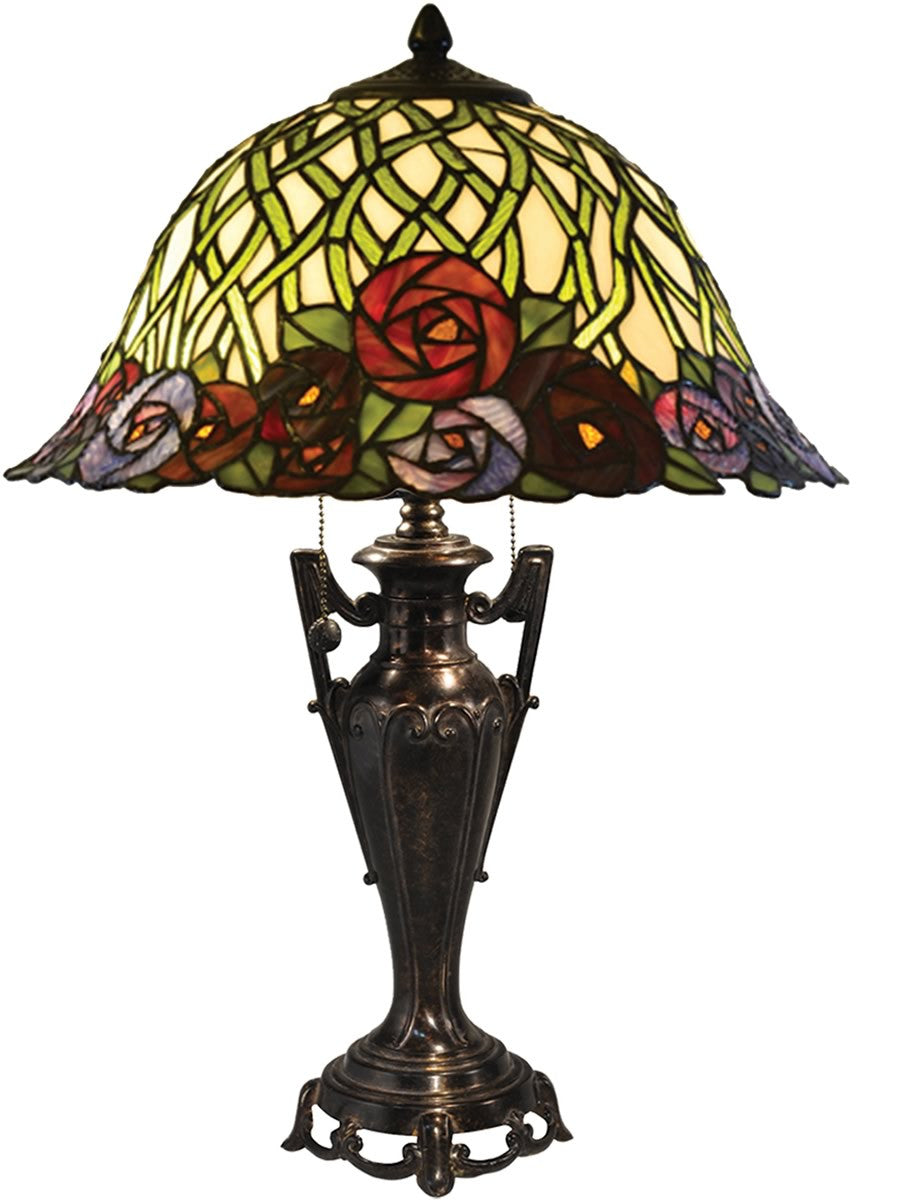 "23""H Misty Rose Tiffany Table Lamp Antique Bronze"
