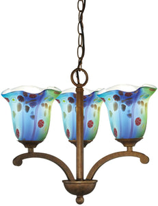 Dale Tiffany Morgan Art Glass Chandelier Antique Bronze AH14289