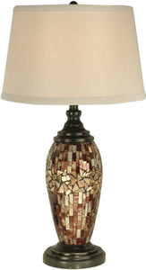 "30""h 1-Light Mosaic Oval Art Glass Table Lamp Dark Antique Bronze"