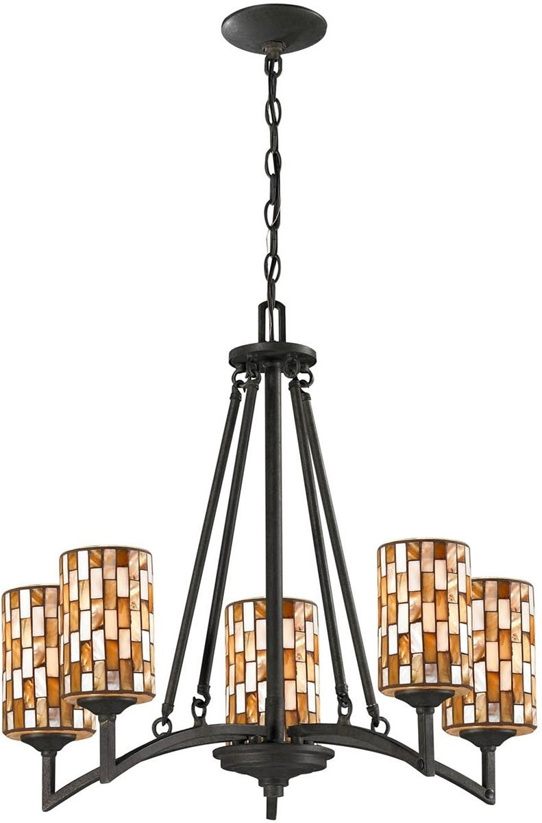 "25""W Myriad 5-Light Pendant Textured Bronze"