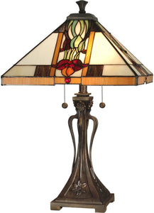 Dale Tiffany 2-Light Tiffany Table Lamp Antique Bronze TT10533