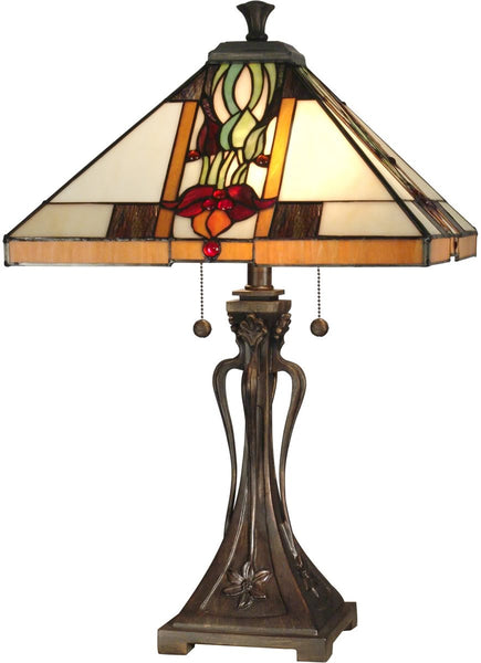 "26""h 2-Light Tiffany Table Lamp Antique Bronze"