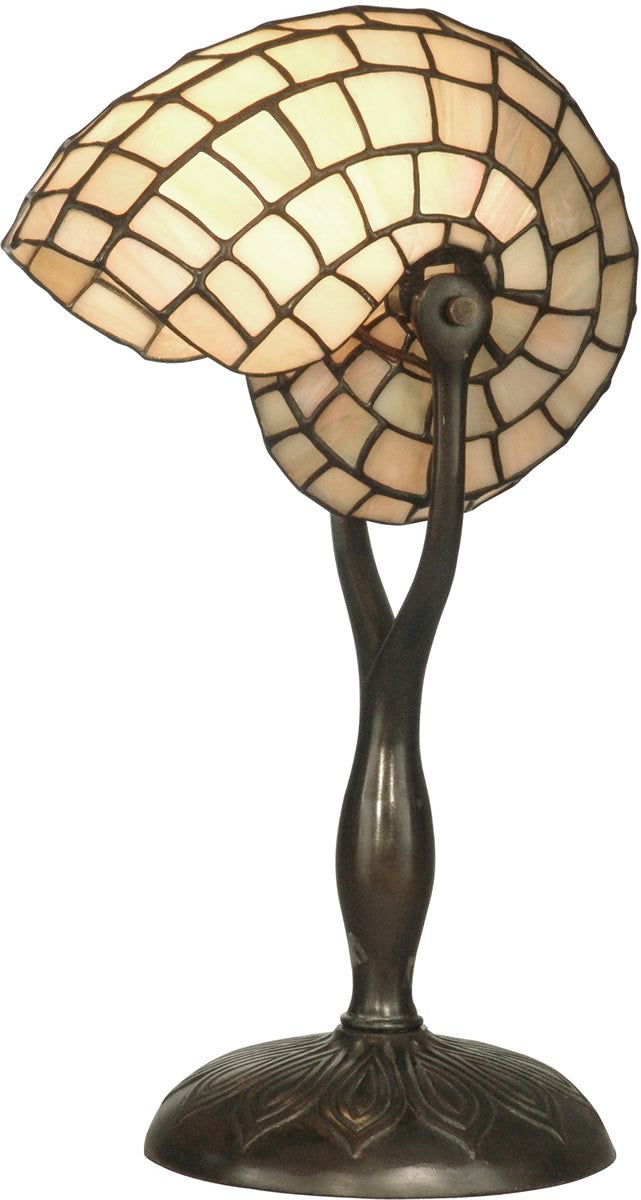 "18""h 1-Light Tiffany Table Lamp Antique Nautilius Snail Design Shade"