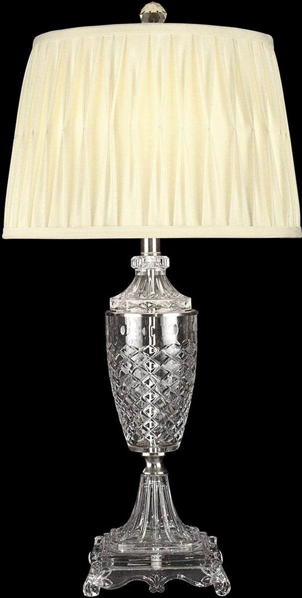 "30""H 1-Light 3-Way Glass/Crystal Table Lamp Nickel"