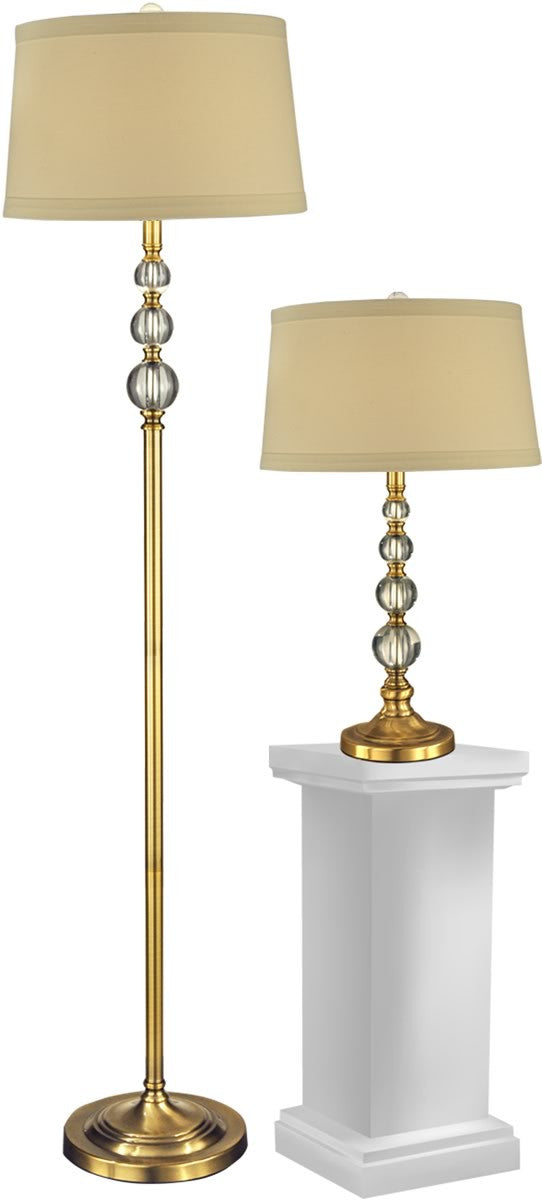 "62""H Optic Orb 1-Light Glass Table Lamp And Floor Lamp (Set of 2) Antique Brass"