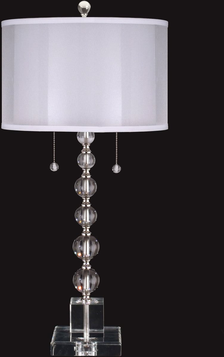 "Optic Orb 31""H 2-Light Crystal Buffet Table Lamp Satin Nickel"