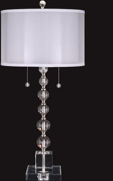 "31""H Optic Orb  2-Light Crystal Buffet Table Lamp Satin Nickel"