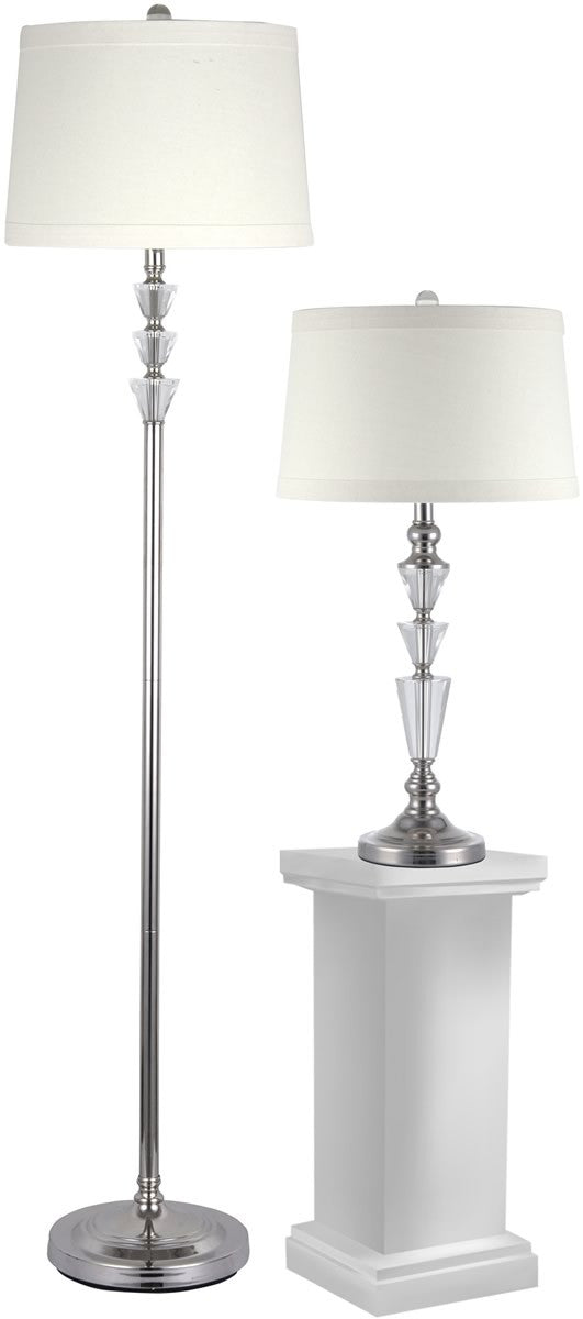 "Crystal Table/Floor Lamp Combo Optic 27.5"" 1-Light Table Lamp And 61.5"" Floor Lamp Set Polished Nickel"