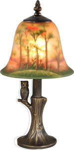 Owl Glass Accent Lamp Antique Bronze