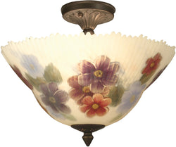 Dale Tiffany Pansy Glass Flush Mount Antique Bronze TH15047