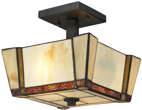 Dale Tiffany Paragon 2-Light Semi Flush Fixture Dark Bronze TH12457