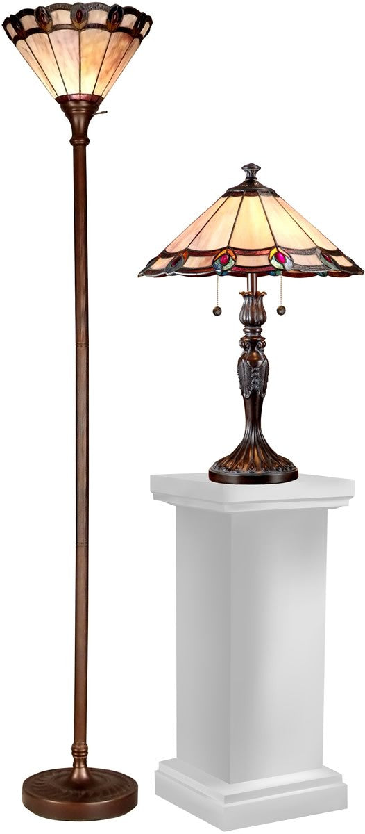 Peacock tiffany lamp set antique bronze