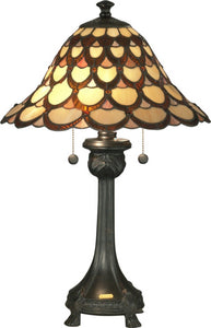 Dale Tiffany Peacock 2-Light Table Lamp Antique Bronze TT70110