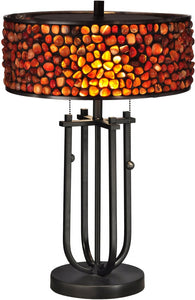 Dale Tiffany Pebble Stone Tiffany Table Lamp Antique Bronze TT13197