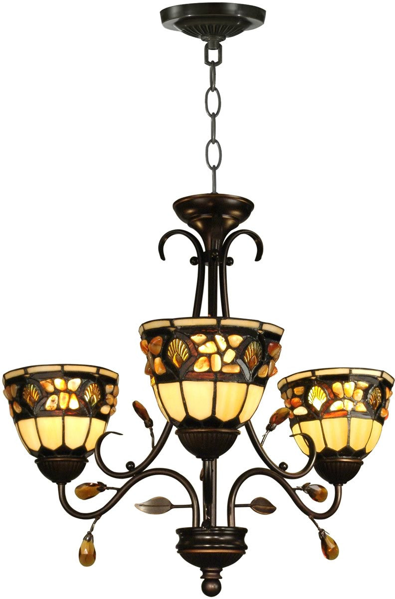 "23""w 3-Light Tiffany Hanging Fixture Antique Golden Sand"