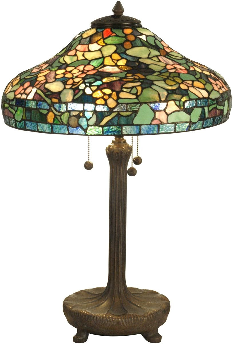 "27""h 3-Light Tiffany Table Lamp Antique Verde"